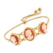 Italian Orange Shell Cameo Bolo Bracelet in 18kt Gold Over Sterling