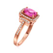 C. 2000 Vintage 1.60 Carat Synthetic Ruby and .35 ct. t.w. Diamond Ring in 14kt Rose Gold