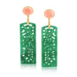 Carved Jade and Pink Coral Drop Earrings in 14kt Gold Over Sterling