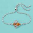 Amber Bumblebee Bolo Bracelet in Sterling Silver