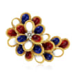 C. 1970 Vintage Multicolored Enamel Pin with Diamond Accents in 18kt Yellow Gold