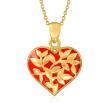 Red Enamel Heart Pendant Necklace in 18kt Gold Over Sterling