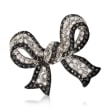 Black CZ and .72 ct. t.w. White CZ Bow Pin in Sterling Silver