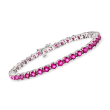 14.00 ct. t.w. Pink Topaz Tennis Bracelet in Sterling Silver