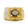C. 1970 Vintage 2.50 Carat Brown Star Sapphire Ring with .20 ct. t.w. Diamonds in 14kt Yellow Gold