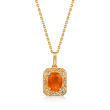 Fire Opal and .12 ct. t.w. Diamond Pendant Necklace in 14kt Yellow Gold