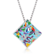 """Belle Etoile """"Tropical Rainforest"""" Blue and Multicolored Enamel Pendant with .13 ct. t.w. CZs in Sterling Silver"""