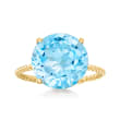 6.50 Carat Sky Blue Topaz Twist Rope Ring in 14kt Yellow Gold