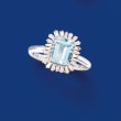 1.40 Carat Aquamarine and .36 ct. t.w. Diamond Ring in 14kt White Gold