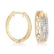 1.00 ct. t.w. Round and Baguette Diamond Three-Row Hoop Earrings in 14kt Gold Over Sterling