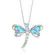 Opal and 2.38 ct. t.w. Blue and White Topaz Dragonfly Pin Pendant Necklace in Two-Tone Sterling Silver