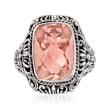 6.19 Carat Pink Quartz Balinese Ring in Sterling Silver