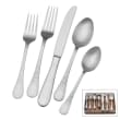 "Wallace ""Satin Brooklyn"" 42-pc. Service for 8 18/0 Stainless Steel Flatware Set with Acacia Wood Caddy"