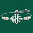 4-7.5mm Cultured Pearl Monogram Bolo Bracelet in Sterling Silver