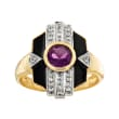 .70 Carat Amethyst and .10 ct. t.w. White Topaz Ring with Black Enamel in 18kt Gold Over Sterling