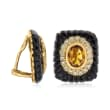 C. 1980 Vintage Black Onyx and 4.00 ct. t.w. Citrine and .75 ct. t.w. Diamond Clip-On Earrings in 14kt Yellow Gold