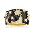 .40 ct. t.w. White Topaz and Black Enamel Celestial Ring in 18kt Gold Over Sterling