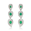 2.80 ct. t.w. Diamond and 2.74 ct. t.w. Emerald Drop Earrings in 18kt White Gold