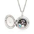 """In Loving Memory"" Paw Print Pet Memorial and Photo Locket Pendant Necklace in Sterling Silver"
