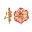Italian Pink Enamel Flower Earrings in 18kt Gold Over Sterling