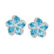 7.00 ct. t.w. Swiss Blue Topaz Flower Earrings in Sterling Silver