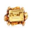 C. 1940 Vintage 11.00 Carat Citrine Ring in 18kt Yellow Gold