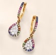 .40 ct. t.w. Multicolored Sapphire and .30 ct. t.w. Diamond Drop Earrings with Tsavorite Accents in 14kt Yellow Gold