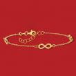 Italian 14kt Yellow Gold Infinity Station Bracelet