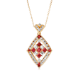 C. 1980 Vintage 3.20 ct. t.w. Diamond and 2.15 ct. t.w. Ruby Necklace in 14kt and 18kt Yellow Gold