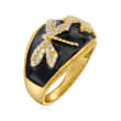 .40 ct. t.w. White Topaz and Black Enamel Dragonfly Ring in 18kt Gold Over Sterling