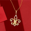 .50 ct. t.w. Diamond Fleur-De-Lis Pendant Necklace in 14kt Yellow Gold