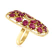 C. 1980 Vintage 6.65 ct. t.w. Ruby and .75 ct. t.w. Diamond Ring in 18kt Yellow Gold