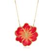 Italian Orange Enamel Flower Necklace in 14kt Yellow Gold