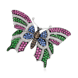 C. 1980 Vintage Multicolored 2.27 ct. t.w. Diamond and 9.85 ct. t.w. Multi-Gem Butterfly Pin in 18kt White Gold
