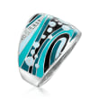 """Belle Etoile """"Calypso"""" Turquoise and Multicolored Enamel Ring with CZ Accents in Sterling Silver"""