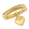 Italian Andiamo 14kt Yellow Gold Over Resin Heart Charm Multi-Bangle Bracelet