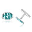 Sterling Silver Oval Border Monogram Cuff Links with Bright Teal Enamel