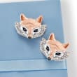 .10 ct. t.w. Sapphire and .10 ct. t.w. Diamond Fox Earrings in Two-Tone Sterling Silver