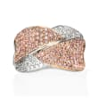 1.69 ct. t.w. Pink and White Diamond Crisscross Ring in 18kt Two-Tone Gold