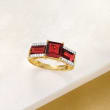 4.00 ct. t.w. Garnet and .12 ct. t.w. Diamond Ring in 14kt Yellow Gold