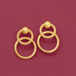 Italian 18kt Yellow Gold Open-Circle Drop Earrings