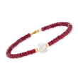 10mm Cultured Pearl and 26.00 ct. t.w. Ruby Bead Bracelet with 14kt Yellow Gold