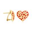 18kt Gold Over Sterling and Red Enamel Heart Leaf Vine Earrings