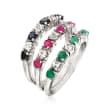 1.50 ct. t.w. Multi-Gem Jewelry Set: Three Rings in Sterling Silver