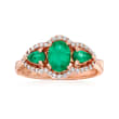 1.20 ct. t.w. Emerald and .21 ct. t.w. Diamond Ring in 14kt Rose Gold