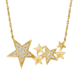 .10 ct. t.w. Diamond Multi-Star Necklace in 14kt Yellow Gold