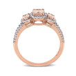 1.10 ct. t.w. Morganite and .34 ct. t.w. Diamond Three-Stone Ring in 14kt Rose Gold