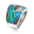 "Belle Etoile ""Chromatica"" Multicolored Enamel and .11 ct. t.w. CZ Ring in Sterling Silver"