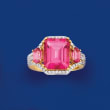8.00 ct. t.w. Pink Topaz and .48 ct. t.w. Diamond Ring in 14kt Yellow Gold