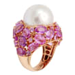15-16mm Cultured South Sea Pearl and 14.00 ct. t.w. Pink Sapphire Cluster Ring in 18kt Rose Gold